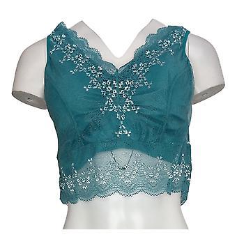 Rhonda Shear One Lace Overlay Green Bra 649755