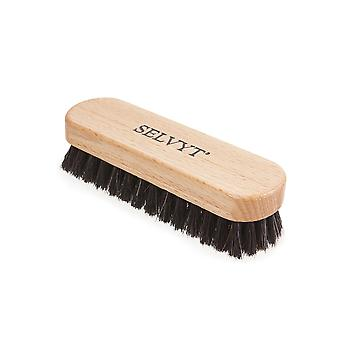 Selvyt Small Premium Horsehair Buffing Brush Black and Neutral shoes or boots-Black
