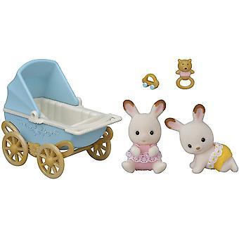 Familias Sylvanian Chocolate Rabbit Twins Set