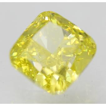 Cert 0.71 Carat Canary Yellow VVS1 Cushion Enhanced Natural Diamond 4.77x4.65mm