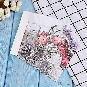 Raw Wood Flower Pattern Decoupage Napkin Paper Tissue
