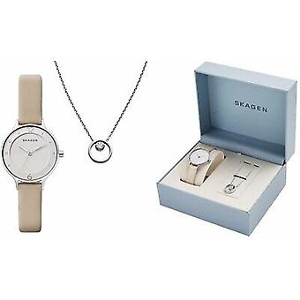 Skagen Anita Oatmeal Leather Watch and Elin Crystal Pendant Gift Set SKW1100