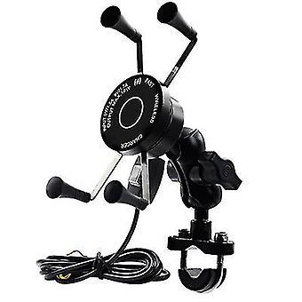Motorcykel aluminium legering trådløs telefonholder, vandtæt QC3.0 hurtig opladning holder
