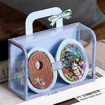 Mini kézzel készített kunyhó modell gyermek játék ajándék (kék)