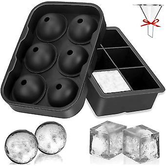 Eiswürfelform, 45mm Eiskugelform 48mm 6-Fach 2-Set Eiswürfelformen Silikon Eiswürfelbehälter Ice