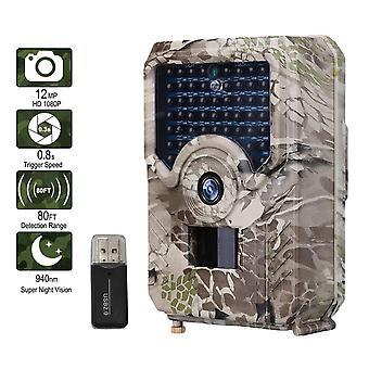 Pr200 trail camera 12mp 49 pieces 940nm ir led hunting camera ip56 waterproof wildlife camera night vision photo trap scouts