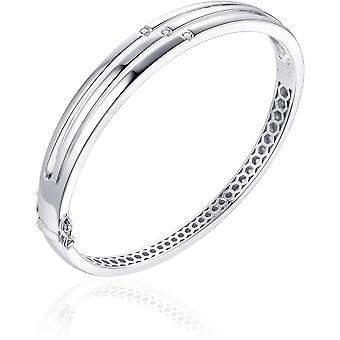 Gisser Jewels - Armband - Bangle set med 3x Zirconia - 8mm Bred - Storlek 60 - Gerhodineerd Zilver 925