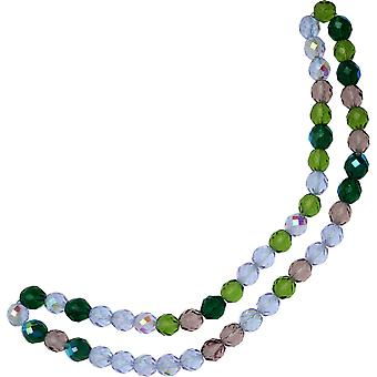 Czech Fire Polished Glass Beads, Faceted Round 10mm, 50 Pieces, Lavender Garden Mix