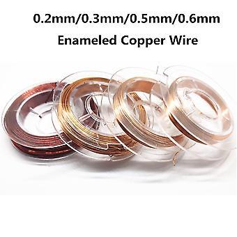 10Meter magnettråd 0,2 mm 0,3 mm 0,5 mm 0,6 mm emaljerad magnetisk koppartrådsspolelindning för tillverkning av elektromagnetmotormodell diy