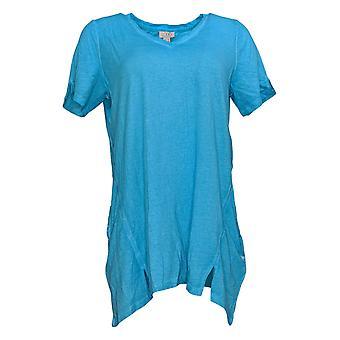 LOGO by Lori Goldstein Women's Top Lace Trim Tie Front Blue A378830