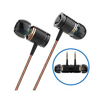 Dx2 3.5mm Wired Control Earphone Metal Stereo Gaming Sports Music In-ear Headphone With Mic Black Color
