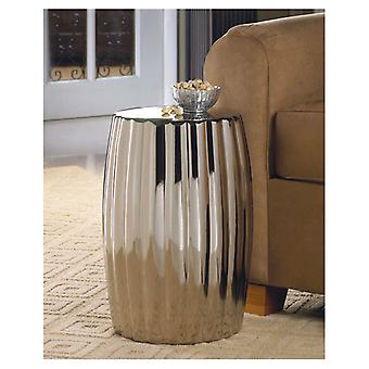 Accent Plus Dramatic Silver Ceramic Stool or Side Table, Pack of 1