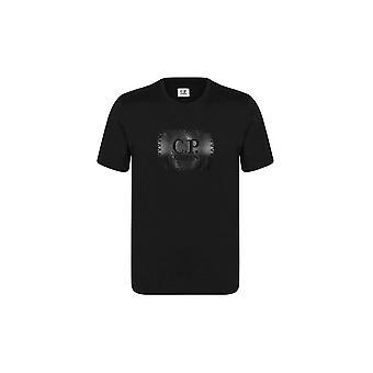 C.P. Company Bomull Rund Hals Glänsande Logotyp Svart T-shirt