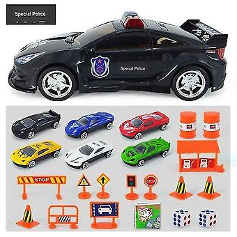 Toy cars diy big police car 6pcs mini alloy diecast car model with lights and sounds toys vehicles