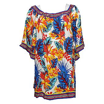 Colleen Lopez Women's Top Mixed-Print Blouse Blue 688974