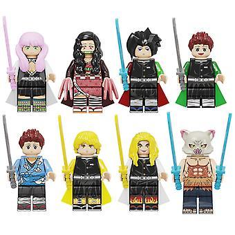8st Demon Slayer Blade Inosuke Tanjiro Nidou Samengestelde Kinderbouwstenen Minifiguur