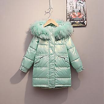 Zöld gyermek hosszú down kabát őszi / téli szezon meleg kabát