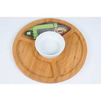 Runde Bambus Snack Aperitif Tablett mit SOS für bietet Salate Snacks
