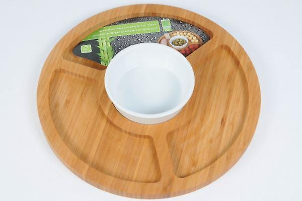 Round Bamboo Snack Aperitif Tray with Ramekin for Serving Salads Snacks