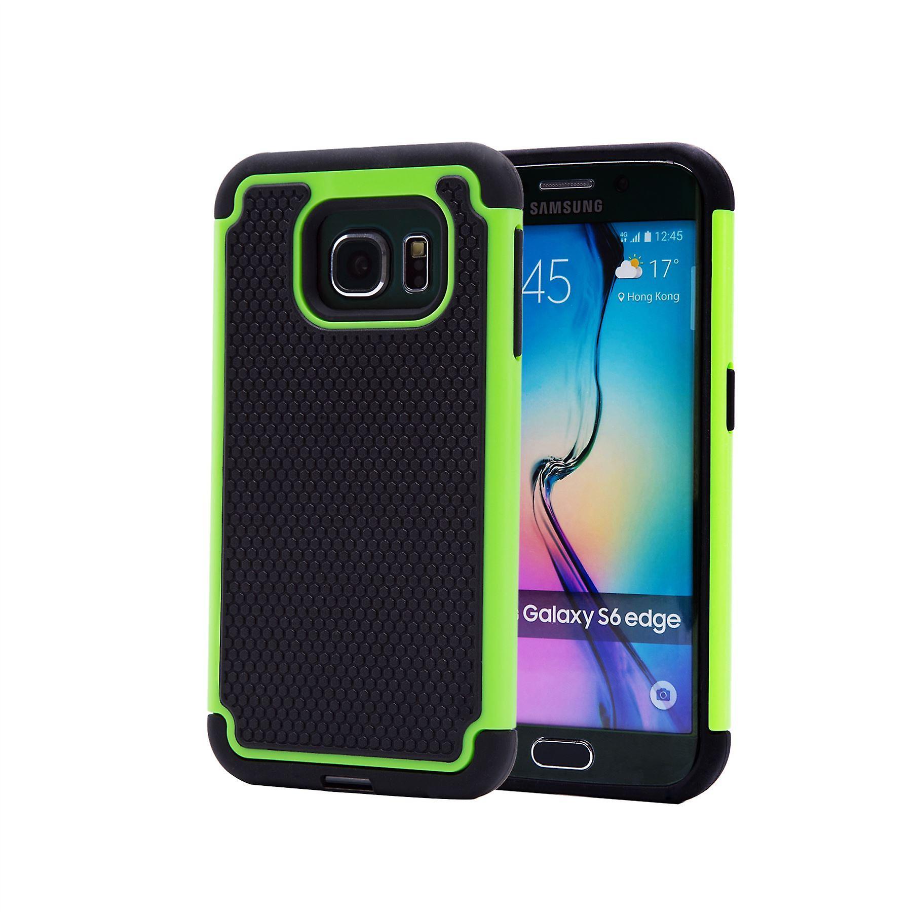 Shock proof case + stylus for Samsung Galaxy S6 Edge (SM-G925) - Green