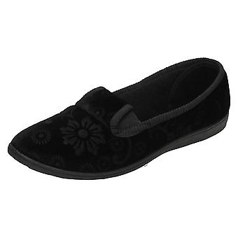 Ladies Spot On Quality Slippers Flower Pattern Slippers LS20