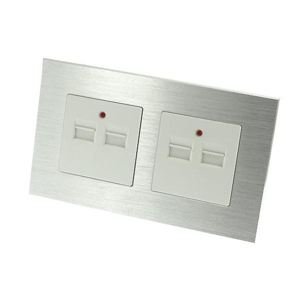 I LumoS Silver Brushed Aluminium 4 Slot 4.2A USB Double Socket Phone Charger