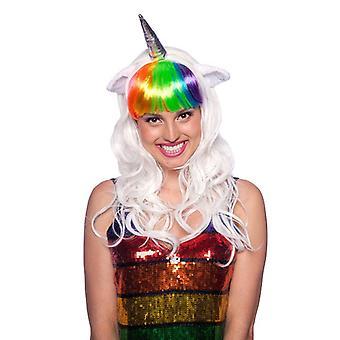 Criaturas de fantasia de unicórnio peruca Lady traje
