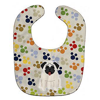 Carolines tesori BB5833BIB Pawprints Pug crema Baby Bib
