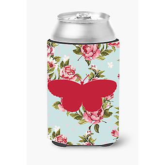 Butterfly Shabby Chic Blue Roses Can or Bottle Beverage Insulator Hugger BB1052