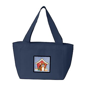 Hond Bulldog huis collectie Engels rood witte lunchzak