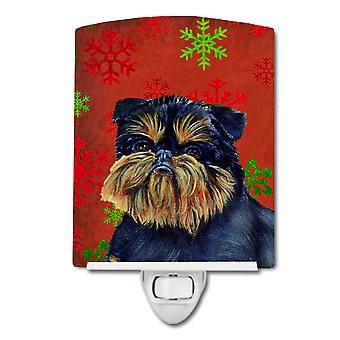 Brussels Griffon Red and Green Snowflakes Holiday Christmas Ceramic Night Light