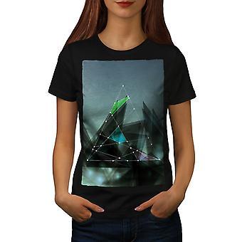 Triangle Lines Women BlackT-shirt   Wellcoda