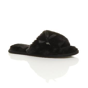 Ajvani womens flat peep toe bow luxury cosy faux sheepskin fur slip on slippers