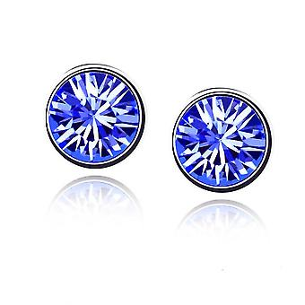 Womens Small Crystal Stud Earrings Jewellery Dark Blue