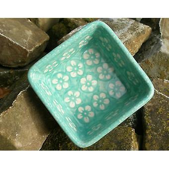 Vierkante Bowl, 9,5 x 9,5 cm, ↑4, 5 cm, Bolesławiec mint, BSN J-969
