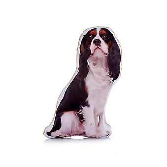 Adorable tri colour king charles cavalier shaped midi cushion