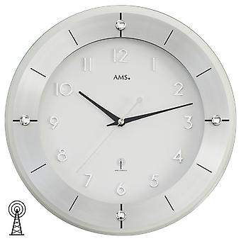 AMS wall clock 5848 radio aluminium combined with faceted mineral glass