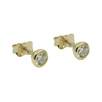 Koble 5mm kubikk zirconia runde 9Kt gull