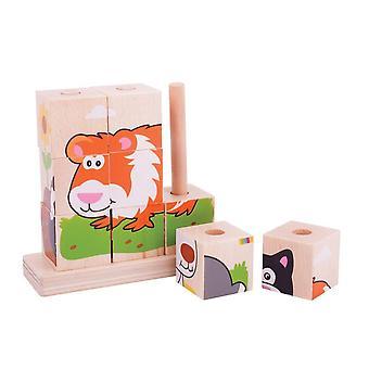 Bigjigs hračky překrývání bloků domácí zvířata