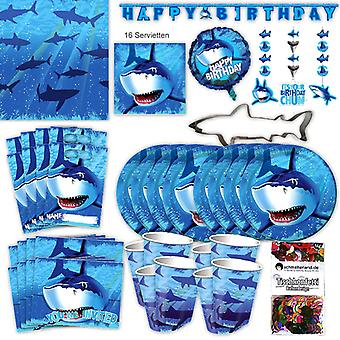 Shark shark party set XL 63-piece 8 guests shark party children's birthday party package