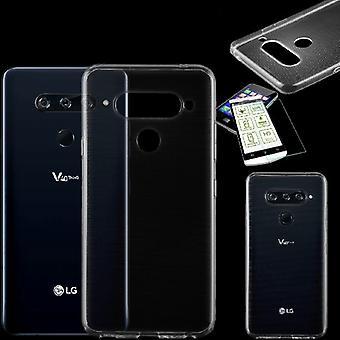For LG V40 bag sin ThinQ Silikoncase TPU gjennomsiktig + 0,26 H9 glass tilfelle beskyttende deksel