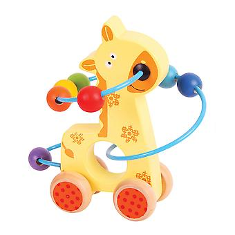 Bigjigs Toys Wooden Mini Giraffe Push Along Bead Frame Sensory