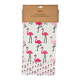 Dexam Set van 2 theedoeken, Flamingo Pink