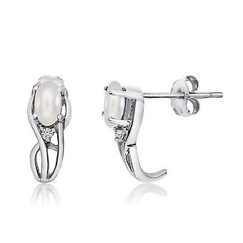LXR 14K Or blanc Curved Freshwater Cultured Perle et diamants Boucles d'oreilles
