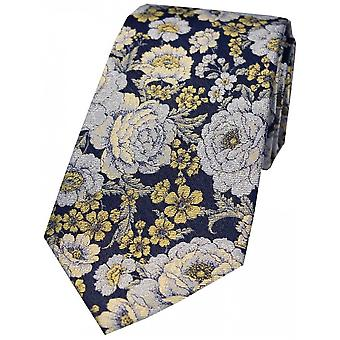 Posh and Dandy Floral Silk Tie - Gold/Navy/Silver