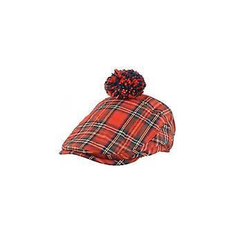 يونيون جاك ارتداء الاسكتلندي الأحمر تارتان بوم قبعة مسطحة