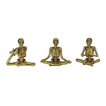 Bot brancards Yoga skeletten in klassieke Poses beeldje Set van 3