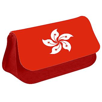 Hong Kong Flag Printed Design Pencil Case for Stationary/Cosmetic - 0218 (Red) by i-Tronixs