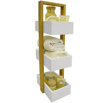 ECHE - 3 Tier Bad Regal / Caddy / Korb - White / Bambus