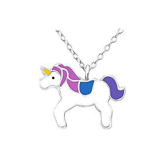 Collana ciondolo unicorno in argento Sterling per bambini